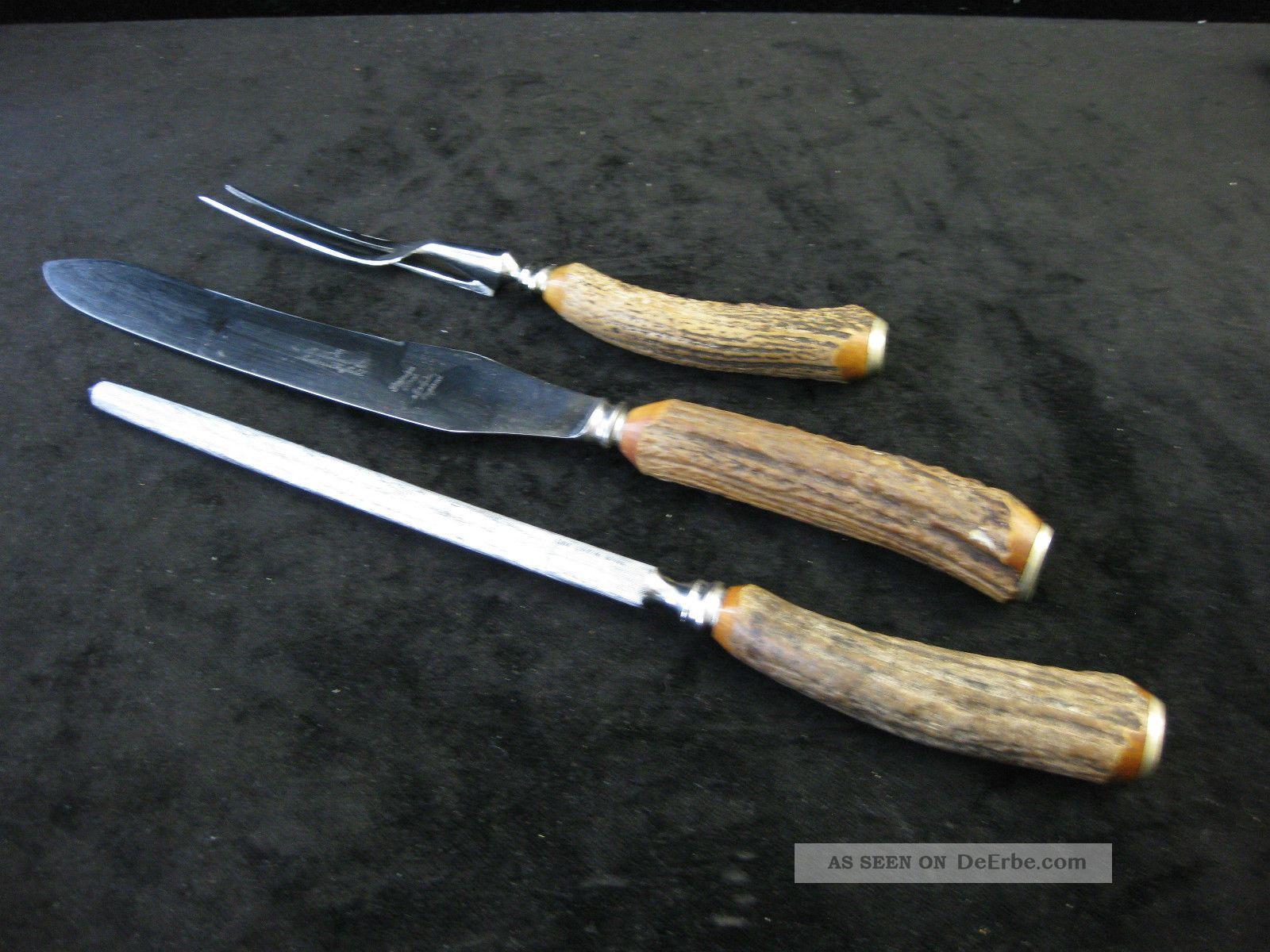 Altes Tranchierbesteck Besteck Messer Jagd Horngriff / Sheffield - England Jagd & Fischen Bild