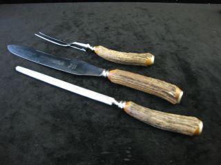 Altes Tranchierbesteck Besteck Messer Jagd Horngriff / Sheffield - England Bild