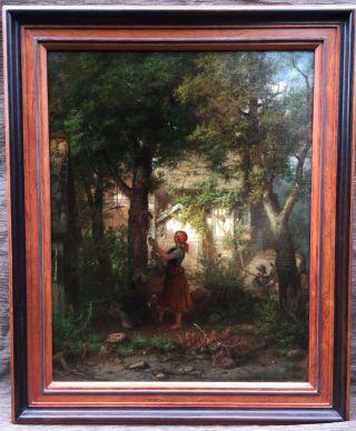 Bäuerliche Szene Vor Dem Forsthaus Im Wald,  Eduard Gustav Seydel 1874. Bild