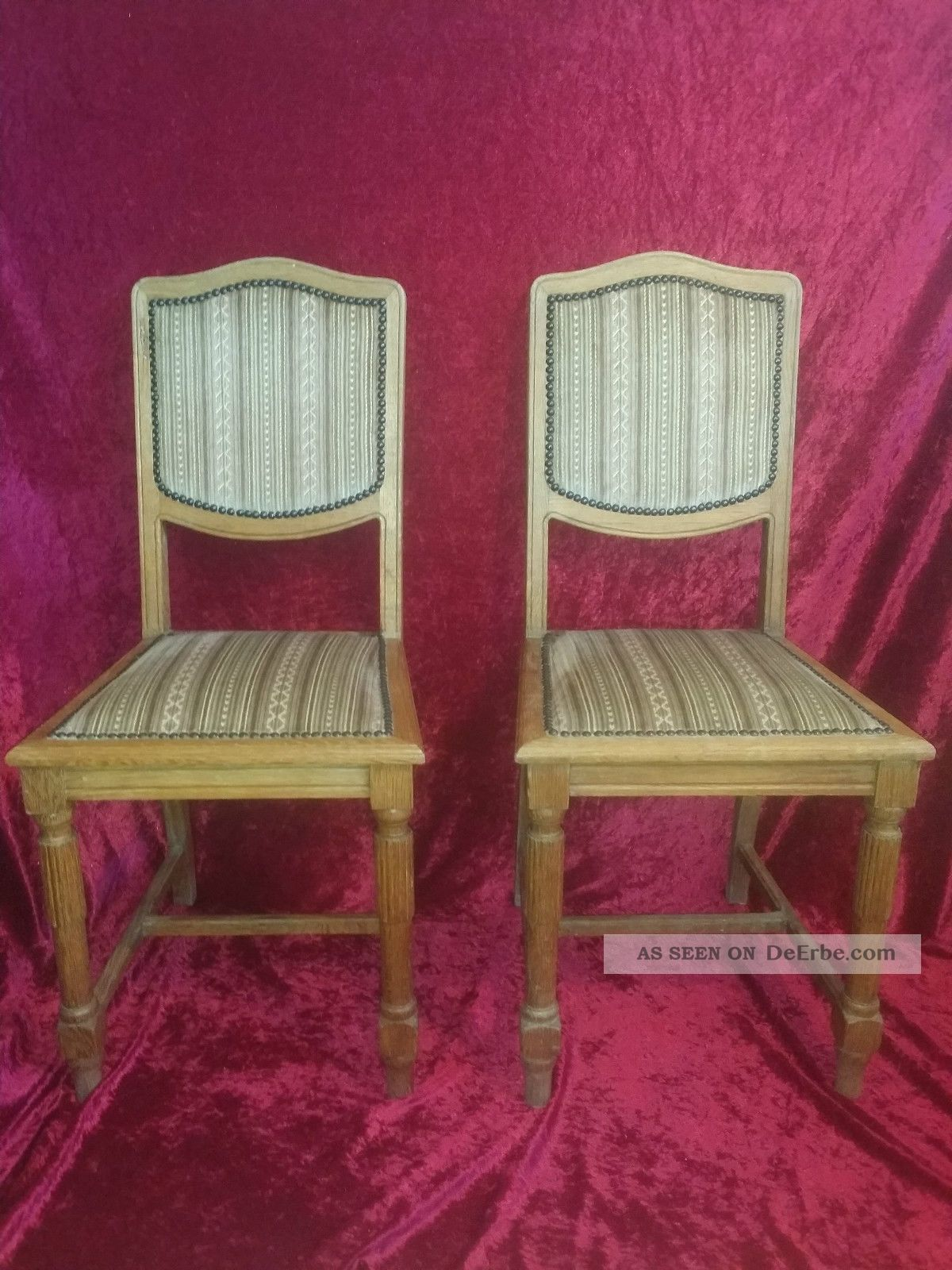 2x Jugendstil Stühle Eiche Um 1910/20 Antik Stuhl Antike Bild