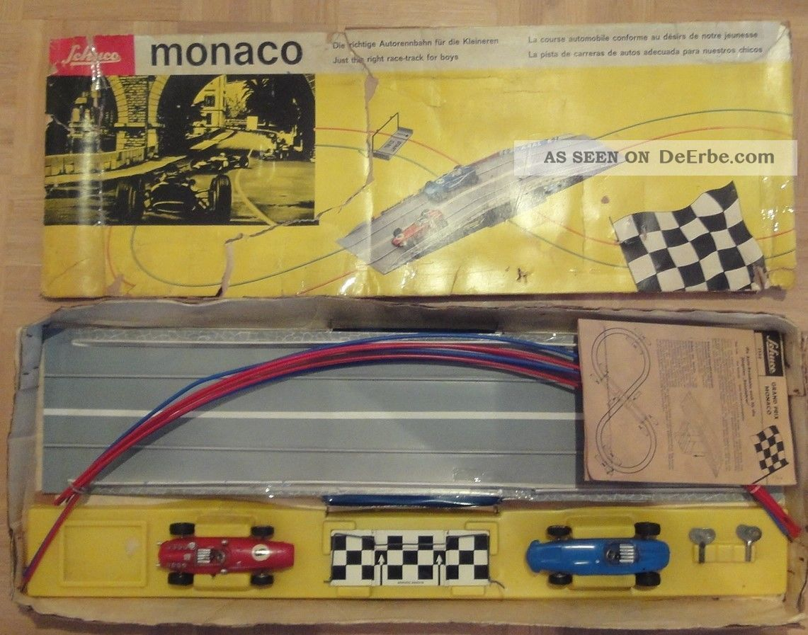 Schuco Monaco,  Sehr Seltene Rennbahn Mit Autos Mit Uhrwerkmotoren Original, gefertigt 1945-1970 Bild
