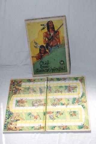 Uraltes Spiel Brettspiel Auf Dem Kriegspfade Si Si Nr.  115 Indianer Um 1940 /50 Bild