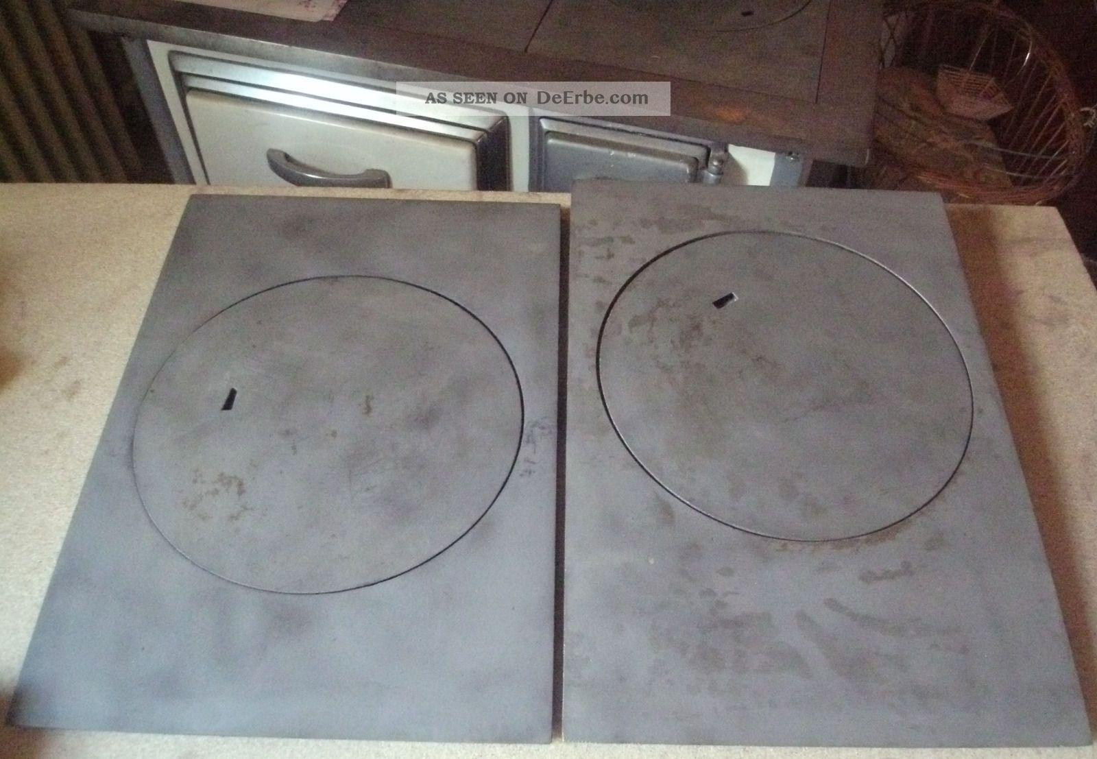 4 Tlg Ofenplatte Herdplatten Zentralplatten Guss Ca.  9,  5 Kg Nie Benutzt Original, vor 1960 gefertigt Bild