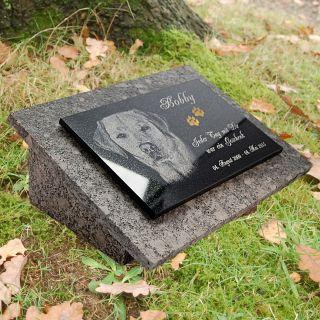 Granit Grabstein Grabplatte,  Rückplatte,  Stützen 40x30 Cm Foto,  Text Gravur Gg16s Bild