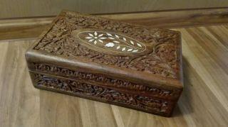 Altes Holzkästchen Mit Intasien Schmuckkästchen Holz Schatulle Bild