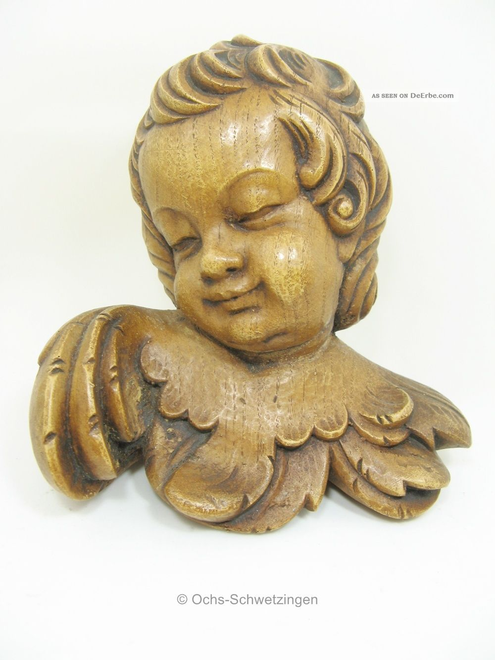 Engel Kopf - Zum Hängen - Holz Geschnitzt - Ca.  17 X 15 Cm (h03) Holzarbeiten Bild
