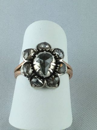 Prachtvoller Biedermeier Ring Gold 585/14k - Silber ♦ Diamant Rose ♦ Über 2 Cts Bild