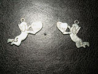 7 Silber Engel Engelchen Schutzengel Anhänger Amulett Schutz Liebesengel Liebe Bild
