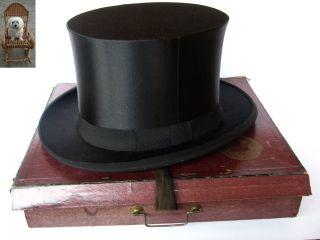 Chapeau Claque 56 Cm / M Schwarz Klappzylinder Ema Gut Zieht An D.  R.  P.  Rössler Bild