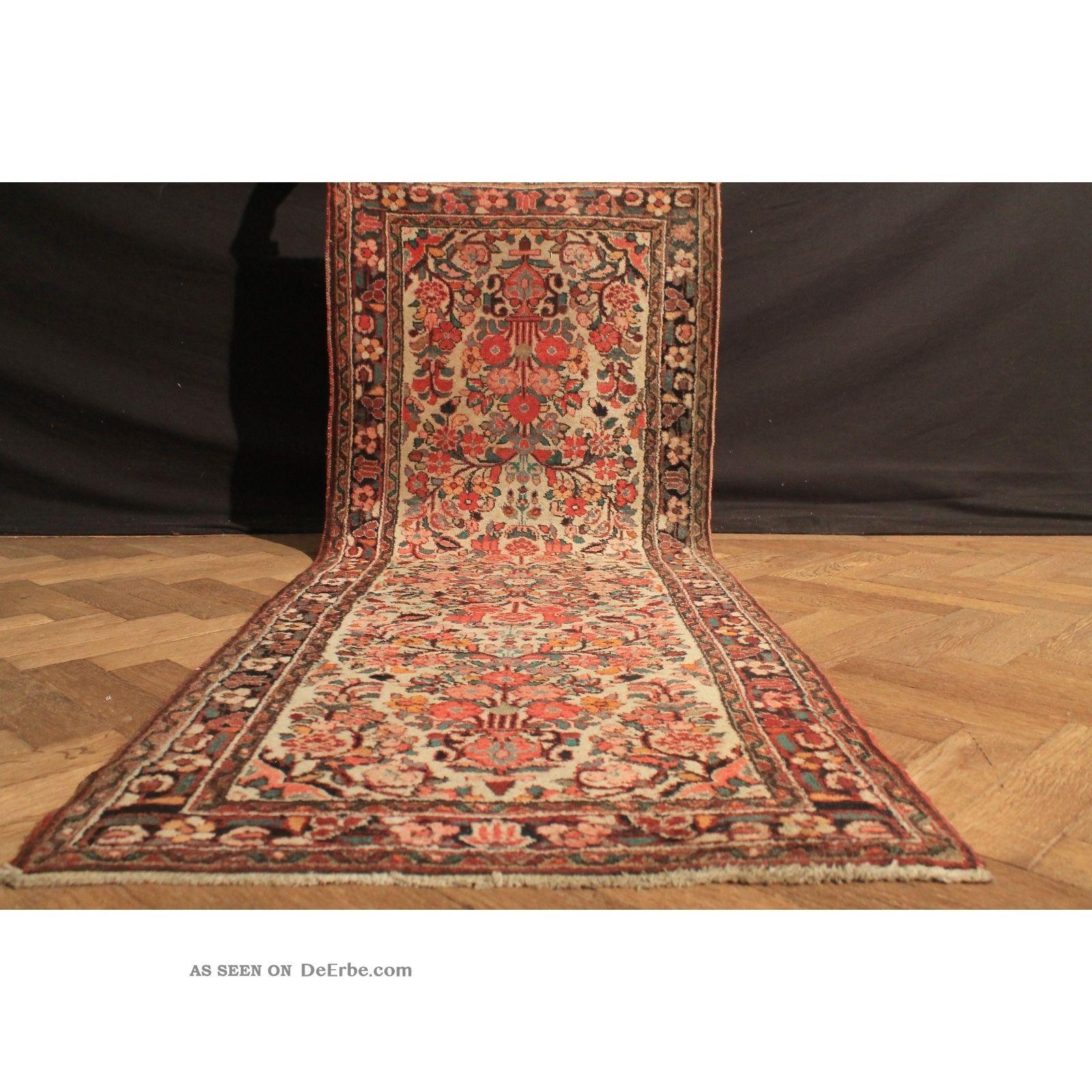 Alter Handgeknüpfter Orient Blumen Teppich Sa Rug Läufer Carpet Tappeto 220x83cm Teppiche & Flachgewebe Bild