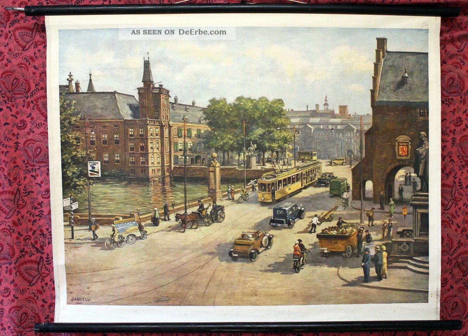 Schulwandkarte Den Haag City Innenstadt Wandtafel Ca.  1955 87x66cm Arzt & Apotheker Bild