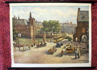Schulwandkarte Den Haag City Innenstadt Wandtafel Ca.  1955 87x66cm Bild