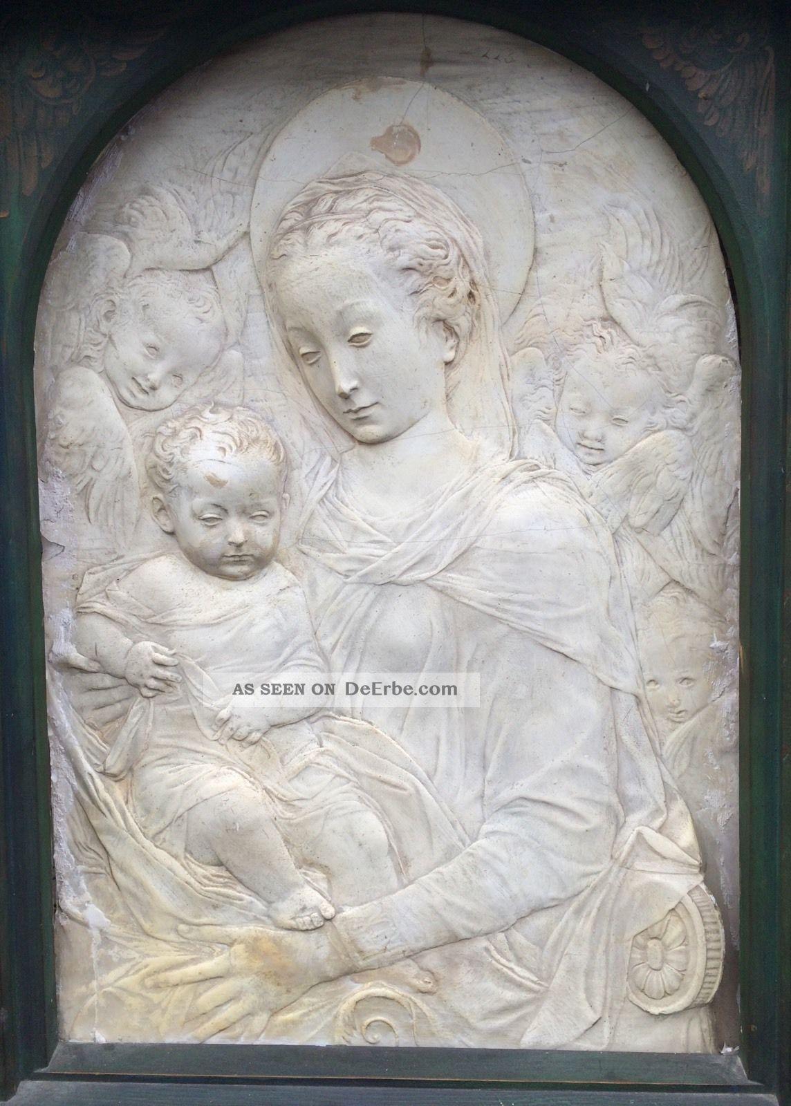 Antonio Rossellini 1427 - 1478.  Italien Florenz Reliefplatte Madonna Mit Kind Vor 1900 Bild