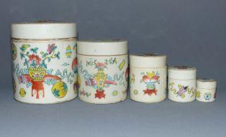 Alte Chinesische Keramikgefäße,  Bemalt,  5er Satz,  Ineinander Verschachtelbar Bild