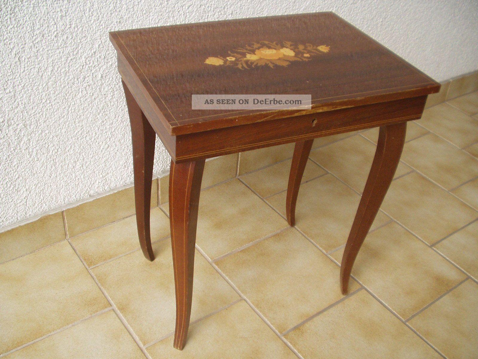 Spielwerk/melodie - Tischchen Aus Holz Mit Intarsien In Sehr Schönem Mechanische Musik Bild