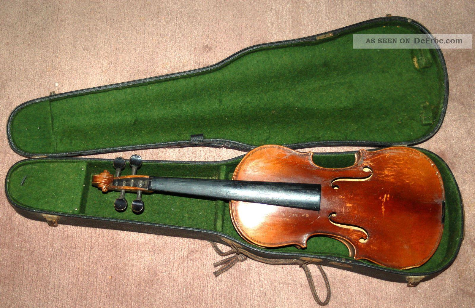 Uralte 4/4 Geige Zum Restaurieren Mit Altem Koffer Musikinstrumente Bild
