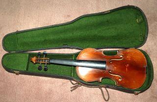 Uralte 4/4 Geige Zum Restaurieren Mit Altem Koffer Bild