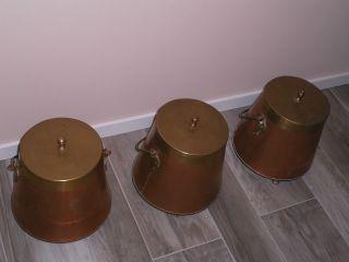 3 Kupfertöpfe (doofpott) Ascheeimer Kaminzubehör Bild