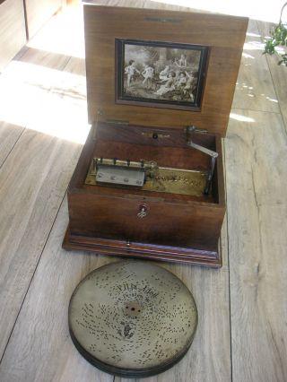 Polyphon Spieluhr Mit Blechplatten 28cm Spieldose Antique Music Box 11
