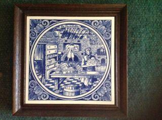 Delft Gerahmte Kachel Fliese De Pasteibakker Handgemacht Bild