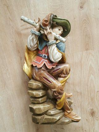 Holzfigur Landsknecht Musiker Skulptur Holz Figur Holzschnitzerei Farbig Flöte Bild