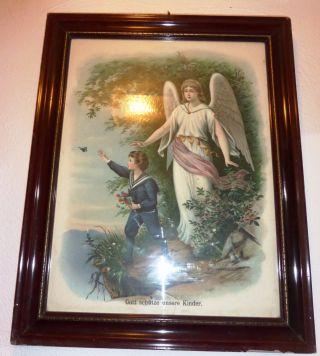Antikes Bild Engel Mit Knabe - Gott Beschütze Unsere Kinder - Mit Glas Holzrah Bild