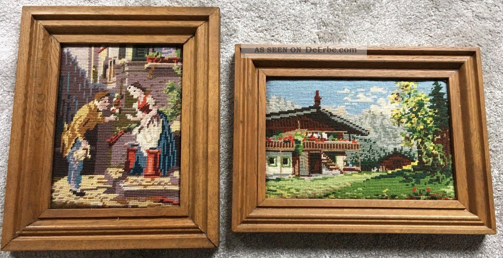 4 X Gobelin Bilder Gestickte Handarbeit Im Echtholzrahmen Teppiche & Flachgewebe Bild