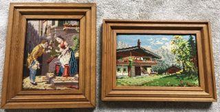 4 X Gobelin Bilder Gestickte Handarbeit Im Echtholzrahmen Bild