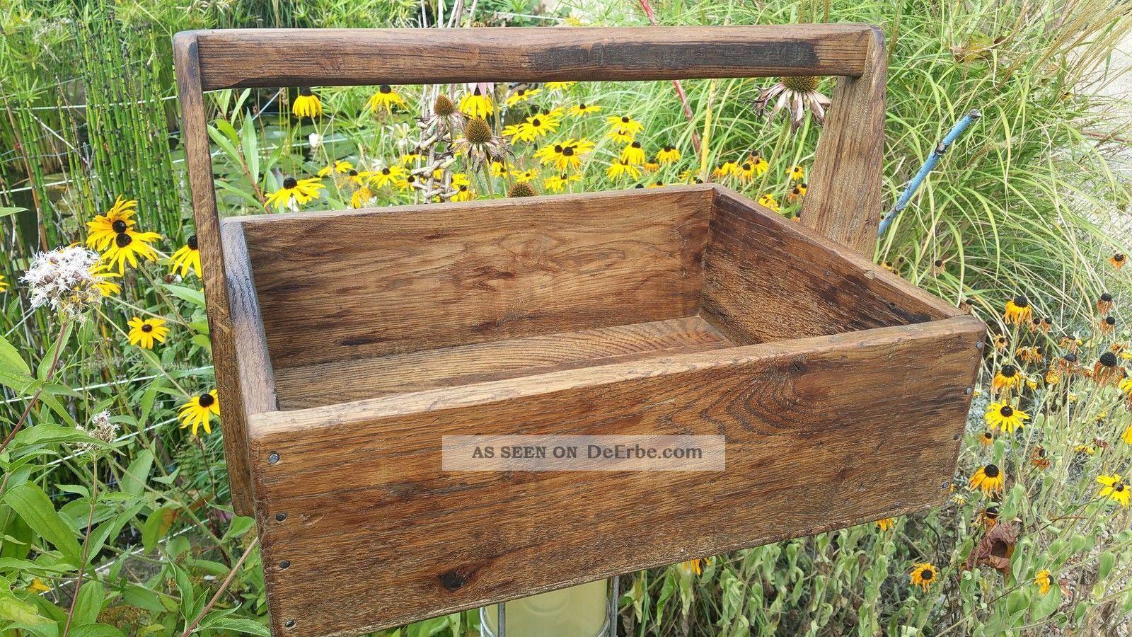 Französiche Holz Werkzeugkiste Eiche Massiv Kiste Koffer Truhe Kasten Zimmermann Bild
