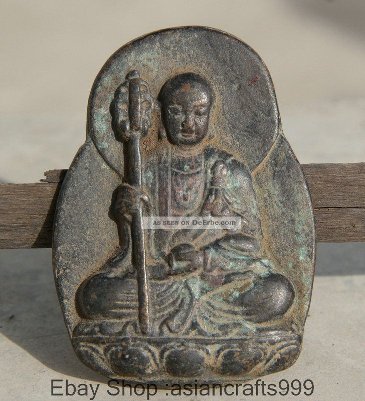 Alte Antike Chinesische Bronze Ksitigarbha Bodhisattva Welts Leader - Buddha Antike Bild