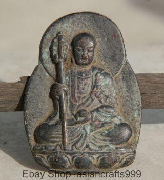 Alte Antike Chinesische Bronze Ksitigarbha Bodhisattva Welts Leader - Buddha Bild
