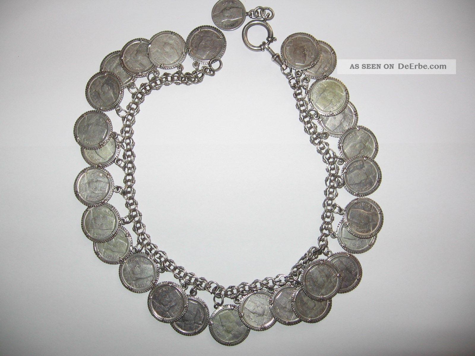 Tolle Kette Mit 28 Stück Silbermünzen - Charivari Silber Kette - 37 Cm Lang Volkskunst Bild