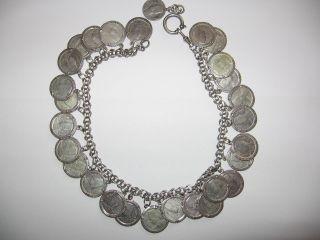 Tolle Kette Mit 28 Stück Silbermünzen - Charivari Silber Kette - 37 Cm Lang Bild