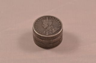 Englische Silber Coin Box Münzdose Half Rupee India Silver George V.  Emperor Rar Bild