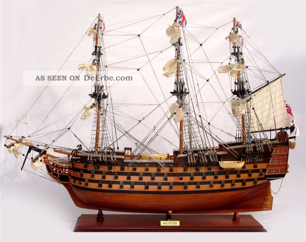 Schiffsmodell Victory,  80 Cm,  Handarbeit Aus Holz,  Rumpf Bemalt,  Fertig Montiert Maritime Dekoration Bild