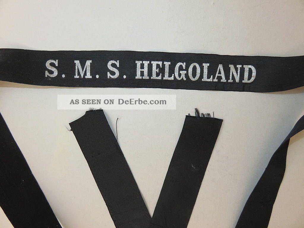 Selt.  Mützenband S.  M.  S.  Helgoland (großlinienschiff I.  Wk) Silberf.  L.  155 Cm Nautika & Maritimes Bild