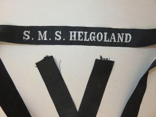 Selt.  Mützenband S.  M.  S.  Helgoland (großlinienschiff I.  Wk) Silberf.  L.  155 Cm Bild