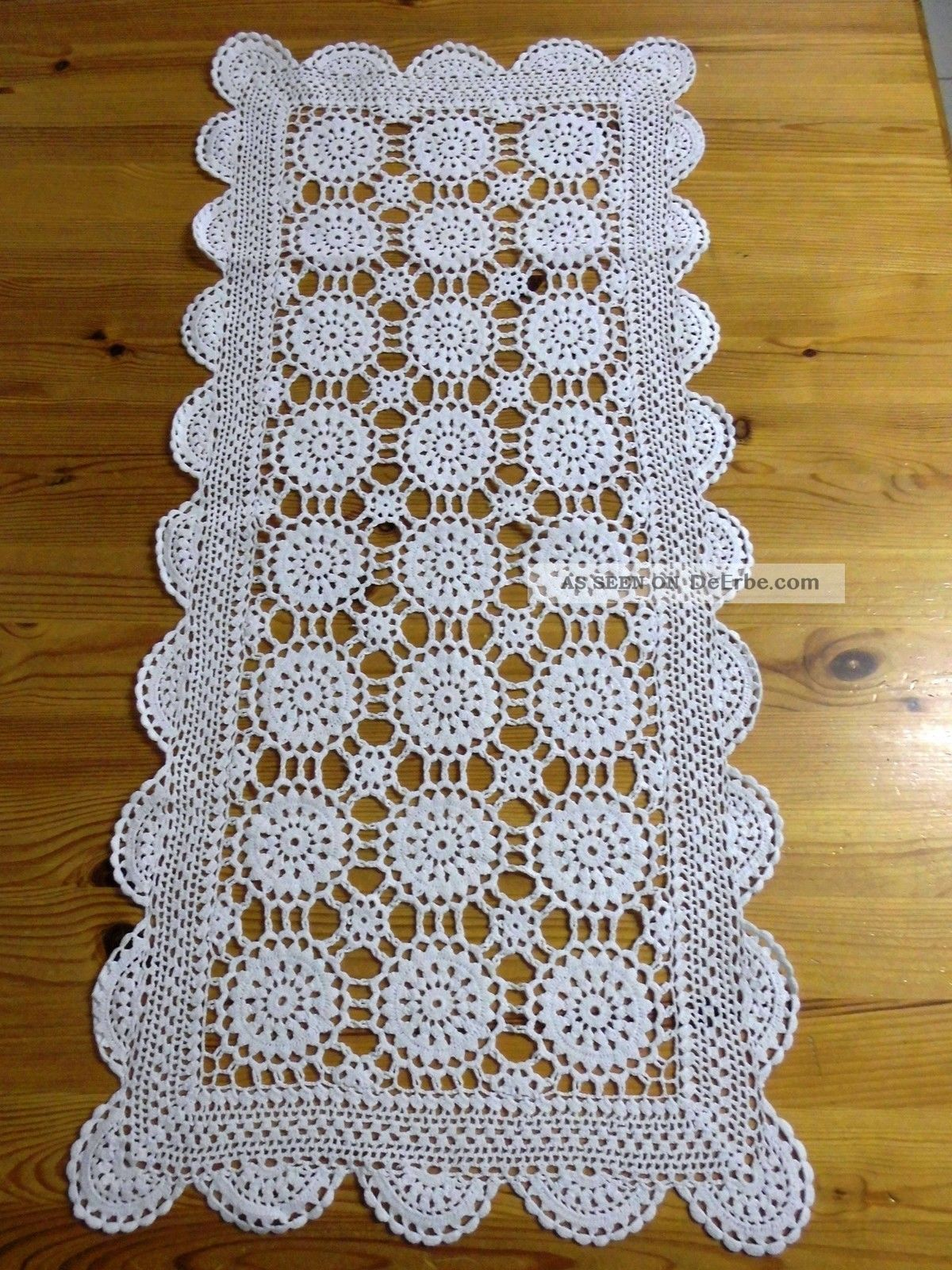 Häkel - Decke/kleiner Tischläufer,  Weiß,  33 X 70 Cm,  Handarbeit Tischdecken Bild
