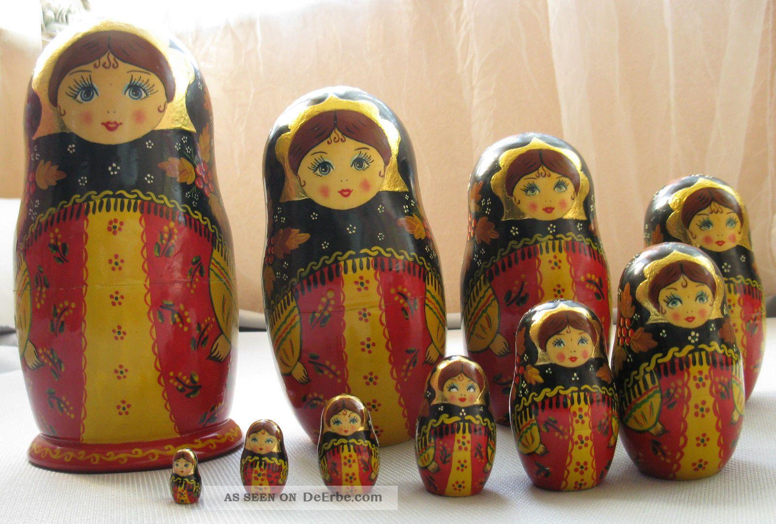 Matroschka Holz 10 Tlg.  Handarbeit Blattvergoldet Russland Signiert Ca.  Um 1990 Holzarbeiten Bild