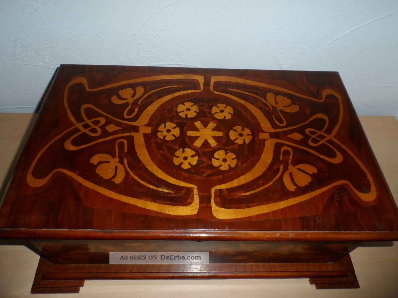 gro e holztruhe antik holzkiste intarsien schatzkiste. Black Bedroom Furniture Sets. Home Design Ideas