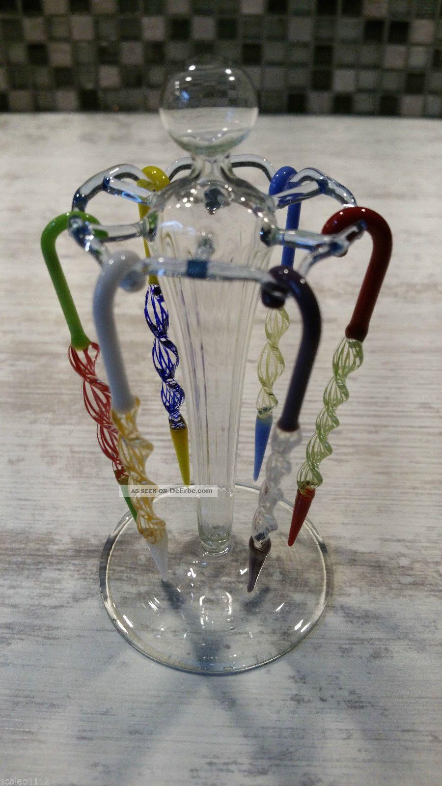 Lauschaer Glas 50er Jahre / Ddr / Bowlespieße Mit Halter Sammlerglas Bild