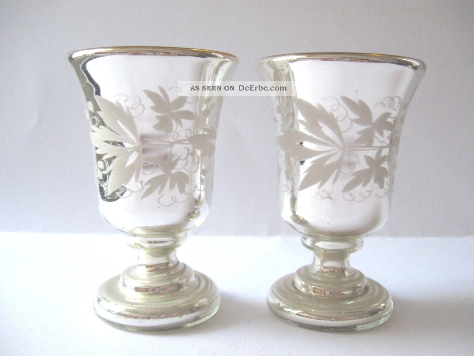 2 Alte Bauernsilber Pokale / Fuß - Becher - Blumendekor - Innen Vergoldet Top Sammlerglas Bild