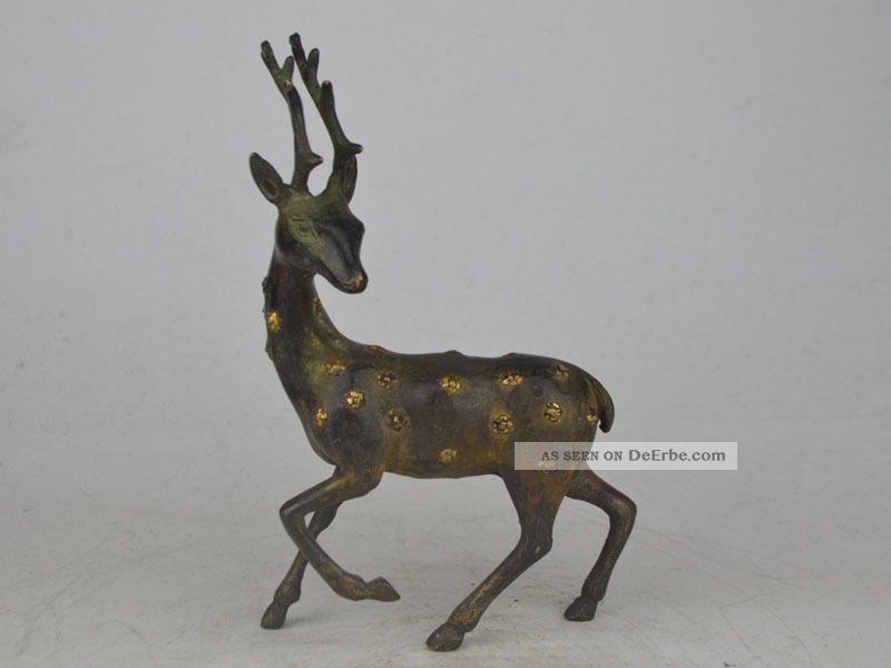 Collectible Exquisite Old Lebendig Bronze$copper Carving Cervus Nippon Statue Antike Bild
