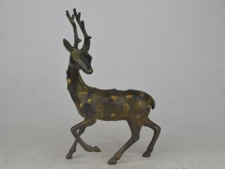 Collectible Exquisite Old Lebendig Bronze$copper Carving Cervus Nippon Statue Bild
