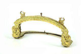 Antiker Feuervergoldeter Handtaschenbügel Empire Frühes 19.  Jh.  Fabelwesen Relief Bild