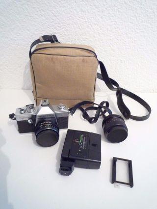 Praktica Tl 1000 35mm Mit Zubehör,  Kamera 2 X Objektiv Tasche Blitzgerät Bild