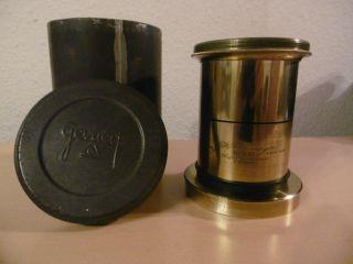 J.  H Dallmeyer 15 X 12 London Rapid Rectilinear Patent Brass Lenses Messing - Obje Bild