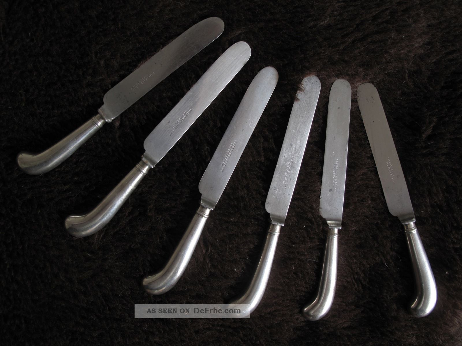 6 Messer Antik England Pistolengriff Versilbert Shepheard & Co 19.  Jahrhundert Objekte vor 1945 Bild