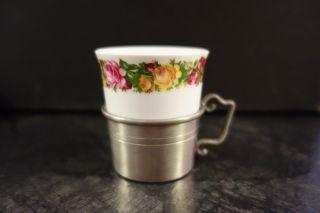 1 Espressotasse Porzellan Mit Zinnhalterung Halterung Zinn Kaffeetasse Blumen Bild