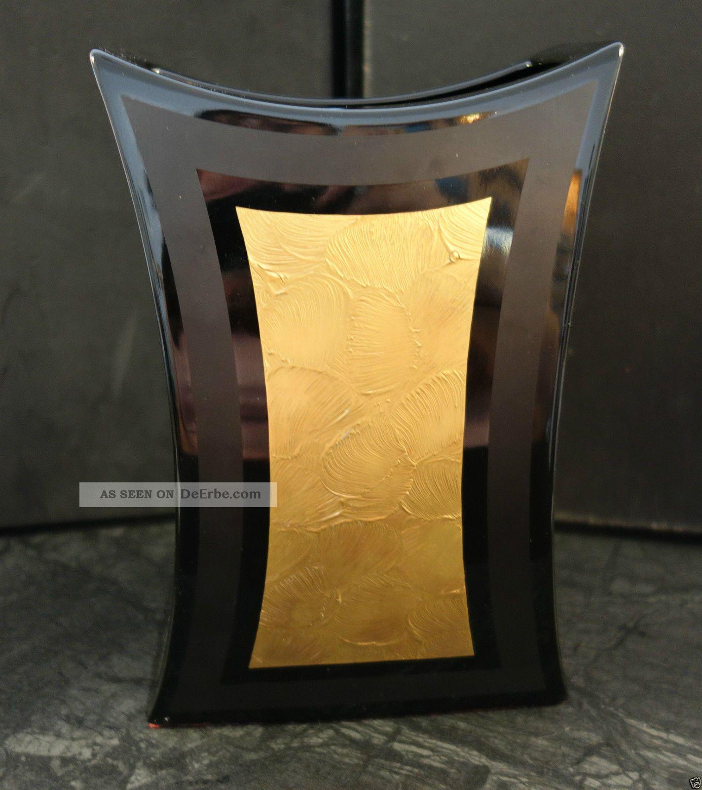 vase rosenthal porcelaine noire drexler studio line blumenvase schwarz gold 22cm. Black Bedroom Furniture Sets. Home Design Ideas